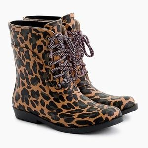NWT J.Crew Lace-up rain boots in leopard